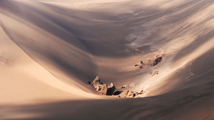 High angle view of sand dune in desert