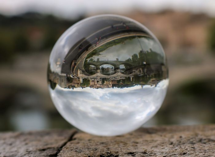 Rom Roma Rome Travel Photography Travelling Ball Citytrip Close-up Crystal Ball Day Design Focus On Foreground Glass - Material Land No People Photography Photographylovers Reflection Selective Focus Sphere Transparent Upside Down Water