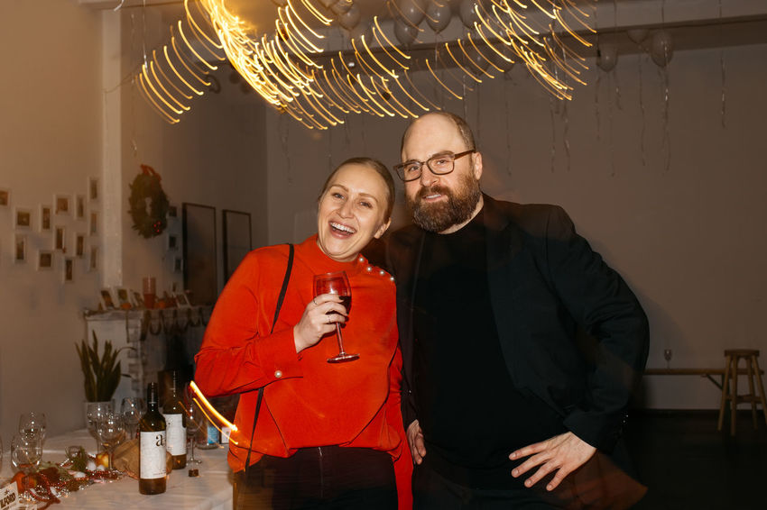EyeEm Christmas Party 2017 Adult Adults Only Bonding Celebration Cheerful Enjoyment Eyeem Studio Kreuzberg Eyeglasses  Food And Drink Friendship Happiness Indoors  Leisure Activity Mature Adult Mature Men Men Night People Real People Smiling Standing Team Awesome Togetherness Two People Wine Wineglass