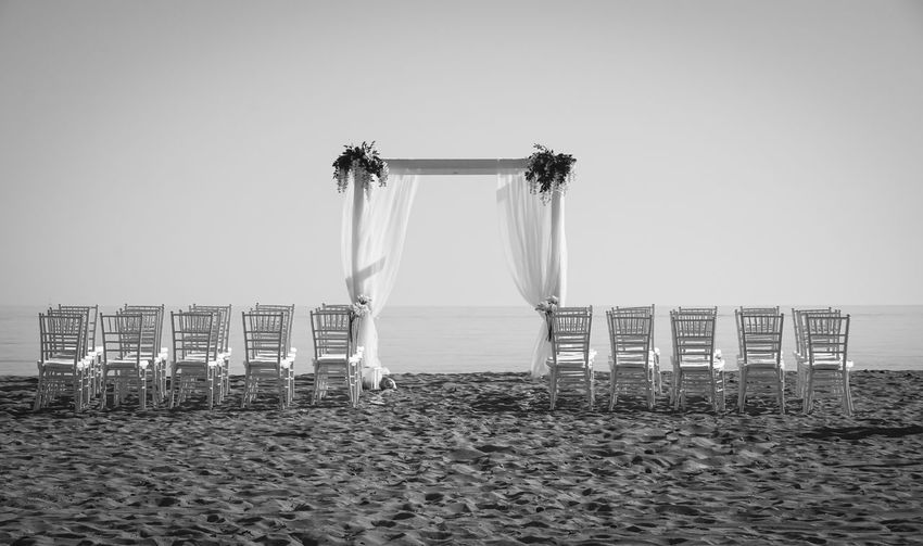 Absence Beach Beauty In Nature Chairs Clear Sky Day Empty Horizon Over Water Idyllic Mallorca Marriage  No People Outdoors Sand Scenics Sea Sky Strand Stühle Tranquil Scene Vacations Wedding Wedding Photography Weiss White