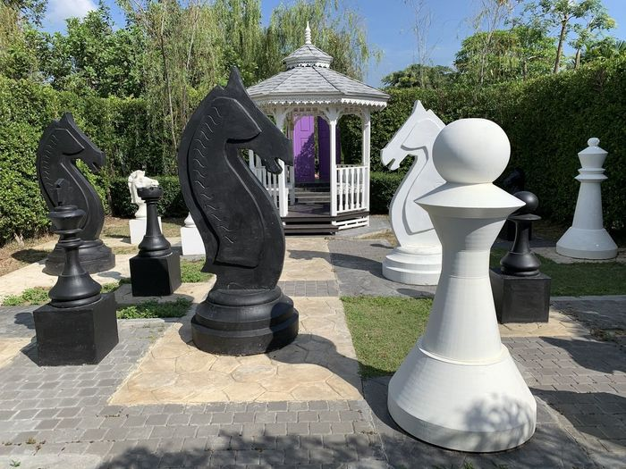 View of statues in park