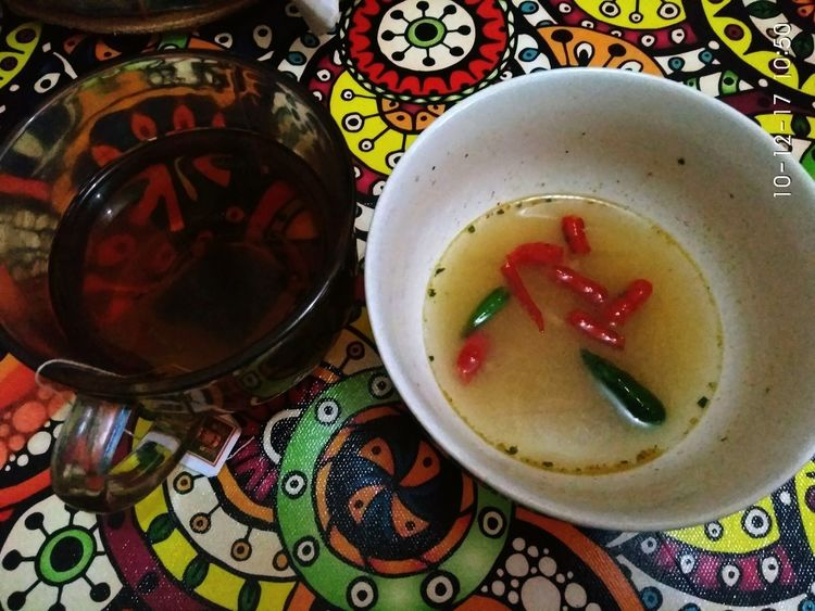 Crafted Beauty my favorit menu... Chilli Noddles Hottea Soup No People Tea - Hot Drink Bowl Ready-to-eat Tea