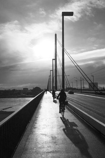 Düsseldorf, Germany Backlight Backlit Backlit Sunrise Backlit Sunset Bicycle Bike Blackandwhite Built Structure City Deutschland Duesseldorf Düsseldorf Gegenlicht Germany NRW Oberkasseler Brücke Outdoors Radfahren Schwarzweiß Sky Sonne Sun Sunrise The Way Forward Monochrome Photography