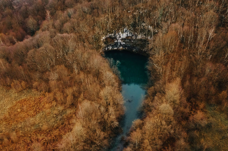 High angle view of lake during autumn