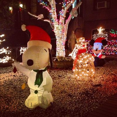 {instagram post} this is one of the more restrained displays on the brownstones around here #snoopy #christmas #brooklyn #nyc #lights NYC Lights Christmas Brooklyn Snoopy