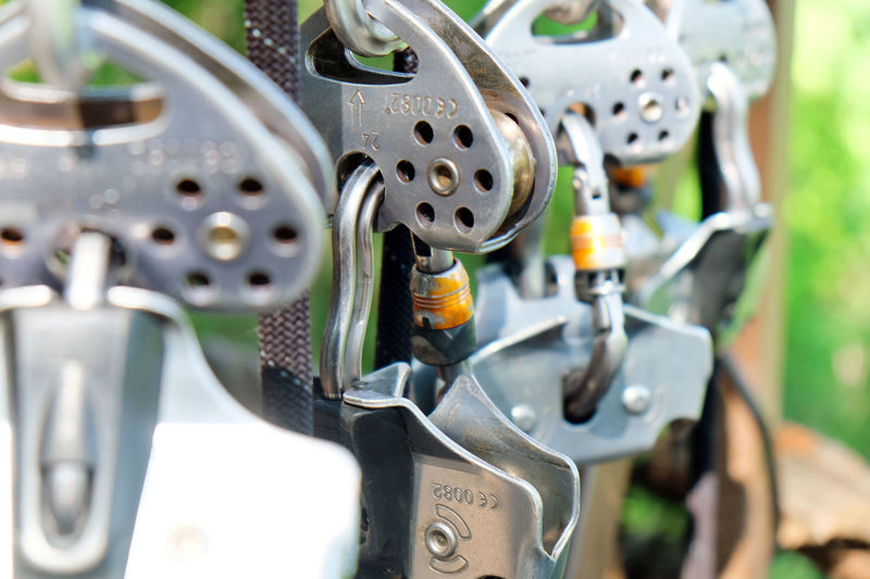 Close-up of carabiners