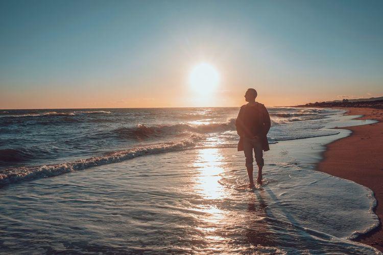 Jan at the beach Water Sea Wave Full Length Beach Sunset Men Standing Summer Sunlight Low Tide Seascape Coast Beach Holiday Calm