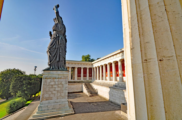 hall of fame with the statue of Bavaria Ancient Civilization Animal Representation Architecture Art Art And Craft Bavaria Statue Building Building Exterior Built Structure Column Creativity Exterior Hall Of Fame Historic History Human Representation Low Angle View Sculpture Spirituality Statue
