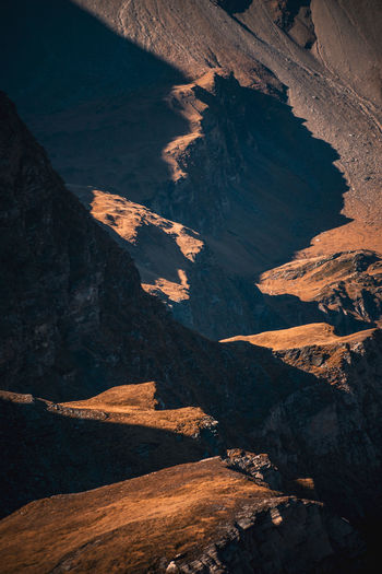 Game of light and shadow in the mountains of the austrian alps near gastein, salzburg.