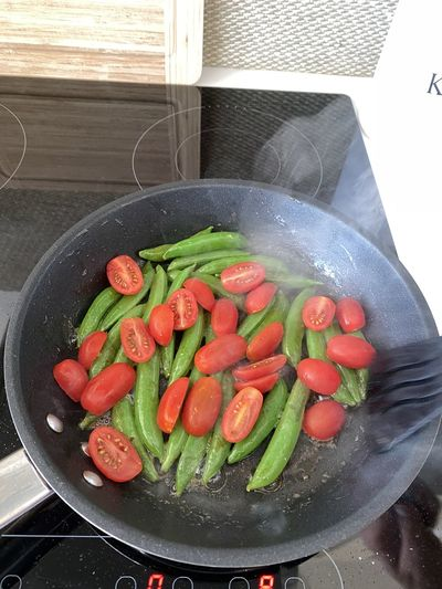 High angle view of vegetables in container