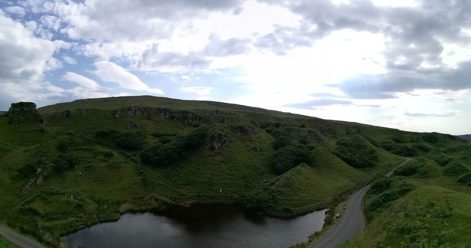 Panoramic Photography Fairyglen Skye Island Fairy Garden Fairy World Fairy House Outdoors Scottish Highlands Beautiful Nature Amazing View Travel Destinations Scenics Nature Scotland Vacations Beauty In Nature No People Sunlight Green Color Cloud - Sky Landscape Hill Nature Water Day