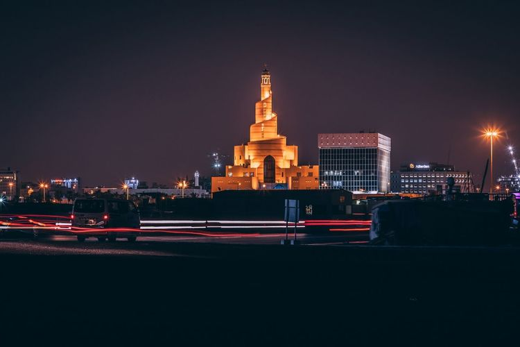 The tall one Night Illuminated Architecture Built Structure City Building Exterior Transportation Travel Destinations Building Road Light Trail No People Nature Copy Space Long Exposure Sky Motion Outdoors Street Travel