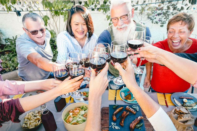 Seniors toasting wine Happy People Friends Friendship Family Lifestyles Dinner Lunch Wine Smiling Alcohol Group Of People Drink Women Men Happiness Glass Food And Drink Wineglass Males  Celebration Mature Adult Celebratory Toast Drinking Social Gathering