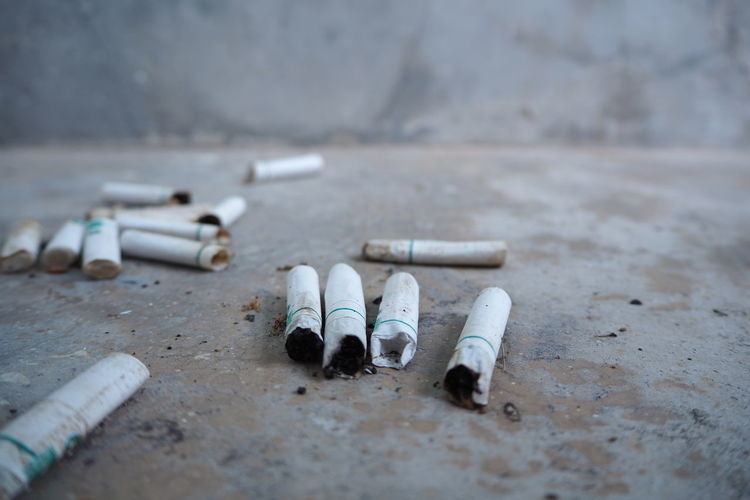 Close-up of cigarette butts