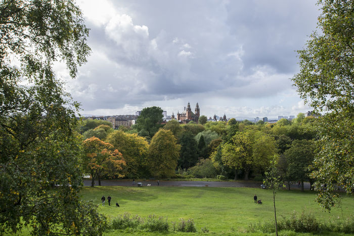 Glasgow  Kelvingrove Art Gallery Kelvingrove Park Architecture Beauty In Nature Blue Sky Building Exterior City Cloud - Sky Day Grass Green Color Growth Landscape Nature No People Outdoors Park Scenery Sky Tree Walking Dogs Water Lost In The Landscape