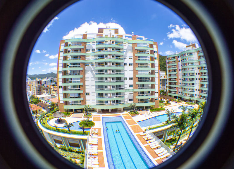 Fish-eye-lens Architecture Built Structure City Building Exterior Building Sky Cloud - Sky Nature Fish-eye Lens Day Geometric Shape Circle Window Shape Office Building Exterior Transportation No People Glass - Material City Life Residential District Skyscraper Outdoors Cityscape EyeEmNewHere EyeEm Selects