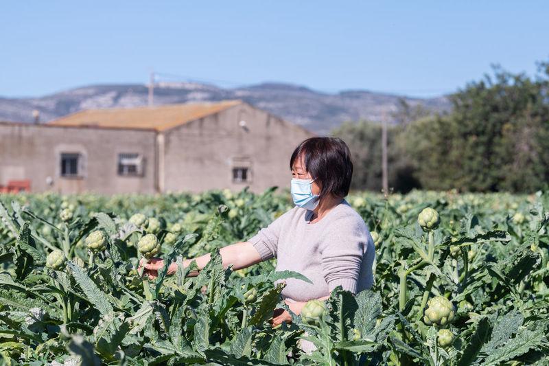 Mature woman wearing mask harvesting at farm