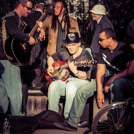 Arts Culture And Entertainment Band Guitar Jam Manhattan Men Music Musician New York New York City NYC Park People People Photography People Watching Sitting Standing Street Street Photography Streetphotography Togetherness Urban Urban Spring Fever