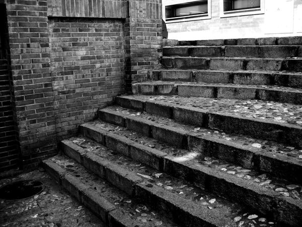 Absence Architecture Black And White Blackandwhite Brick Brick Wall Building Built Structure Day Indoors  Monochrome No People Obsolete Old Old City Solid Staircase Steps And Staircases Stone Material Stone Stairs Wall Wall - Building Feature Window