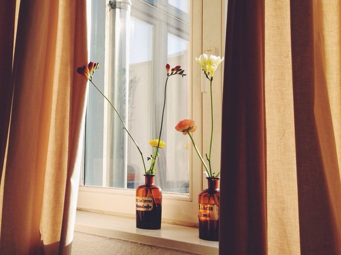 Flower vase on window sill