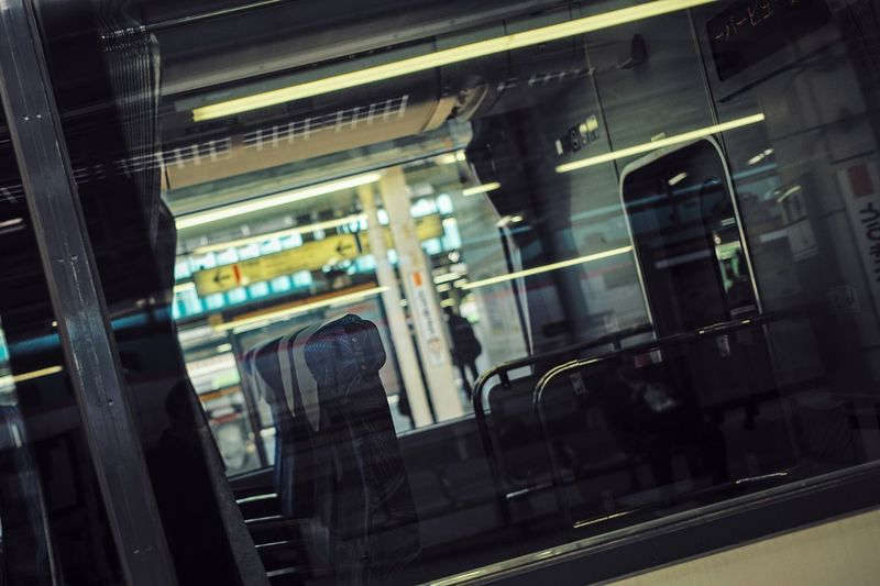 Tokyo Tokyo,Japan Transportation Public Transportation Mode Of Transportation No People Travel Indoors  Rail Transportation Train Train - Vehicle Seat Glass - Material Window Reflection