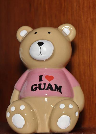Bear Brown Figurine  I Love Guam KAWAII Pink Teddy Bear Toy