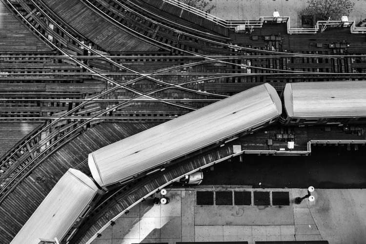 High Angle View Of Train On Railroad Tracks