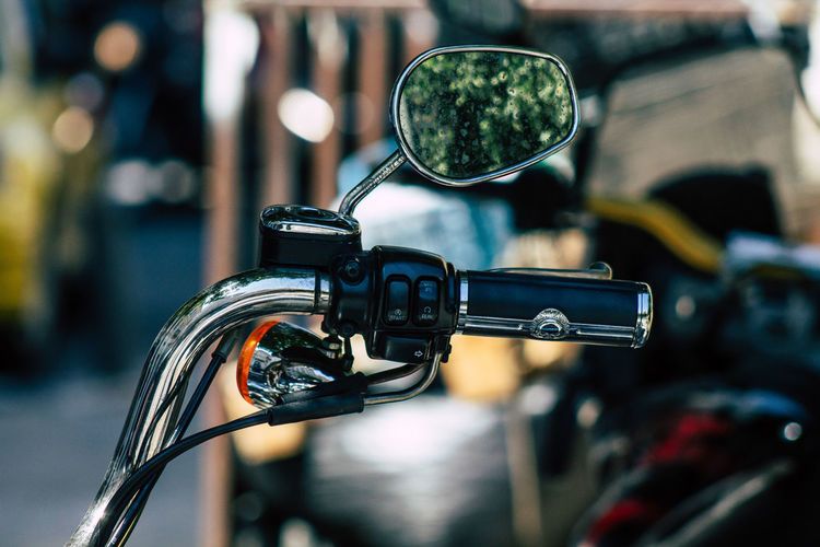 Close-up of motorcycle side-view mirror