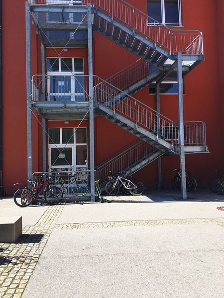 Bad Tölz Gymnasium Bad Tölz Bavarian School School School Building Red Blue Sky Summer Day Sunny Day Sunny Stairs Emergency Stairs Emergency Exit Fire Stairs Fire Exit  Fire Escape