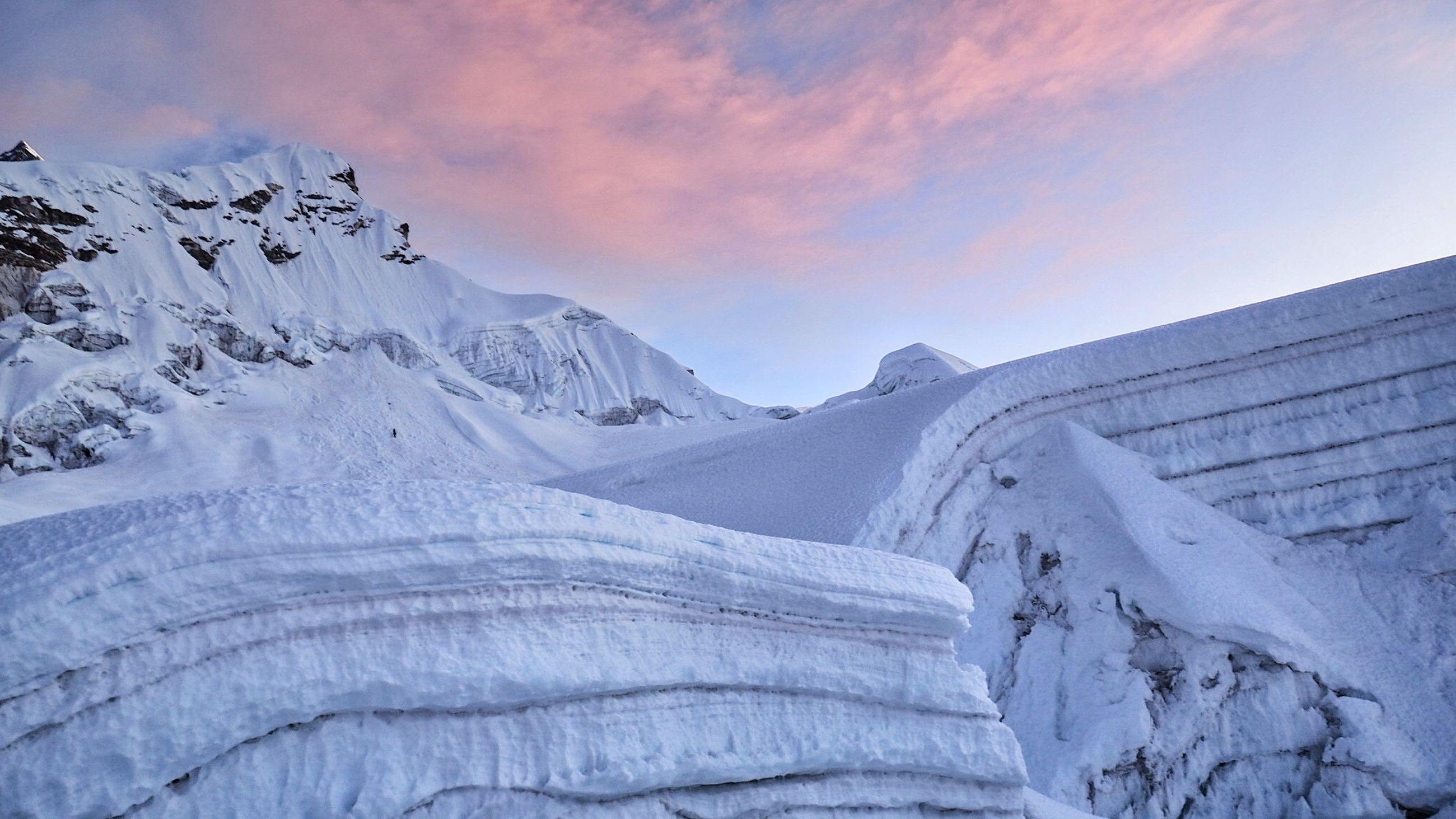 cold temperature, winter, snow, beauty in nature, sky, scenics - nature, tranquil scene, tranquility, cloud - sky, sunset, environment, white color, nature, covering, no people, idyllic, non-urban scene, landscape, mountain, snowcapped mountain, mountain peak