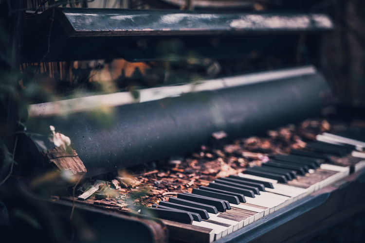 Old piano in the garden outside. Arts Culture And Entertainment Close-up Day Focus On Foreground In A Row Indoors  Keyboard Keyboard Instrument Machinery Music Musical Equipment Musical Instrument No People Old Piano Piano Key Playing Selective Focus