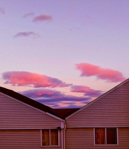Color my world ~ In Portland Maine USA Happiness Clouds And Sky Nature_perfection Beauty In Nature Springtime Loving The Sky No People Nature Lover Color Of Life Loving The Landscape Happy Moment Lights And Reflection My Neighborhood Multi Colored Pink Color Roof Sky Built Structure Building Exterior Purple