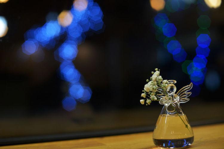Angel Blue Lights  Bokeh Close-up Decoration Digital Photography DSLR Photography Flower Illuminated Indoors  New Year New Year Decoration New Year Mood New Year Toy Nikkor 50mm F1.4 Tamar Mirianashvili Toy
