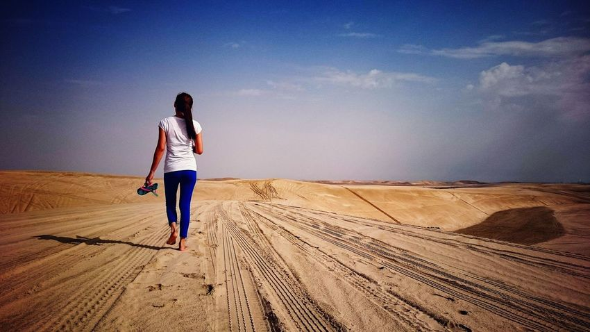 Sand Only Women Full Length One Person Outdoors One Woman Only Sky Real People Sand Dune Nature Doha,Qatar EyeEm Phillippines Alone