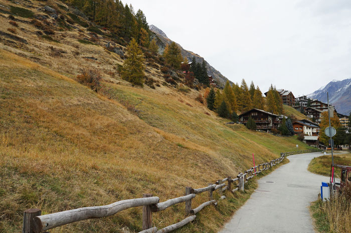 October Travel Photography Zermatt Day Grass Landscape Mountain Nature No People Outdoors Road Scenics Sky Swizerland The Way Forward With Wife