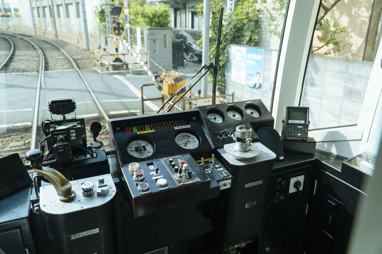 Tram in Tokyo Mode Of Transportation Transportation Glass - Material Transparent Control Panel Vehicle Interior Control Window Windshield Day Dashboard Car No People Gauge Outdoors Technology Steering Wheel Airplane Travel Meter - Instrument Of Measurement