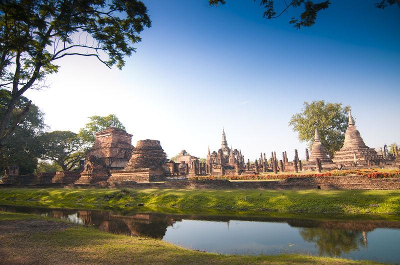 Ancient Wat Mahathat Ruins Against Sky