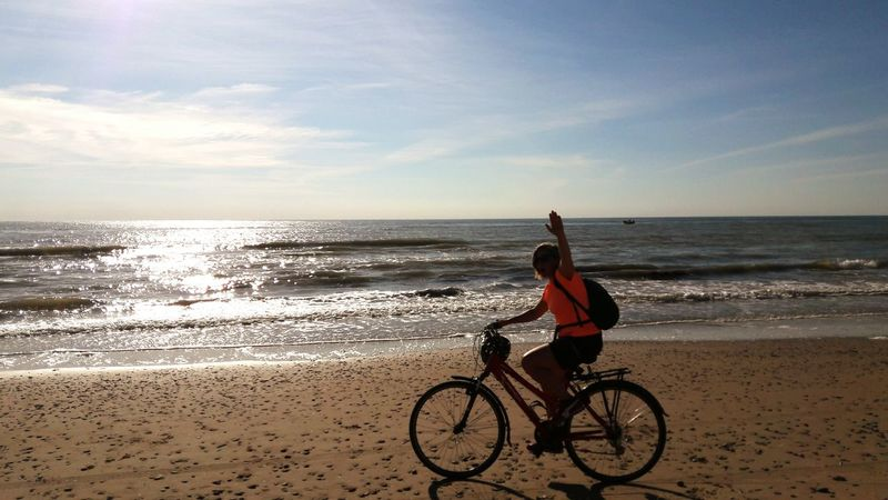 Beach Sea Bicycle Sand Horizon Over Water Vacations Cycling Riding One Woman Only Only Women Water One Person Sky Adult Adults Only Exercising Nature One Young Woman Only Headwear Women Mezzomix Week On Eyeem An Eye For Travel