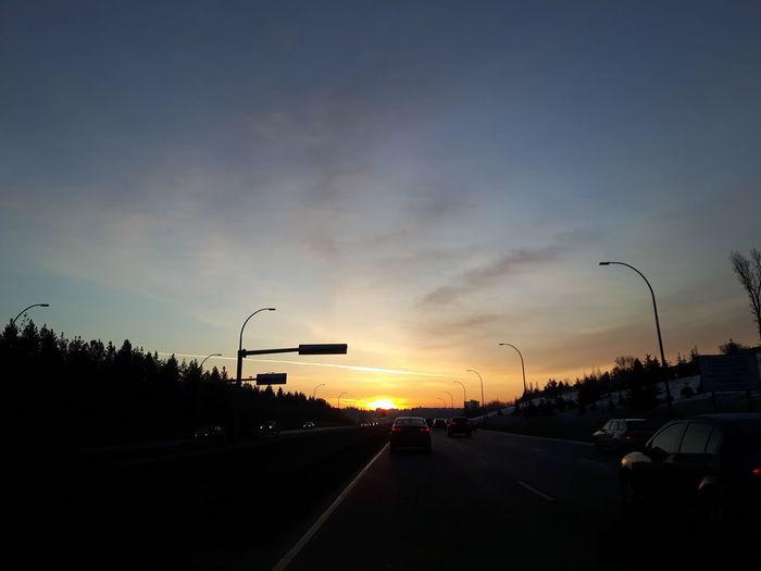 Dramatic Sky Outdoors Nature No People Sunrise On The Freeway Sunrise Traffic Sky Day Headed East