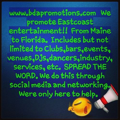Help us help you. Tag your pic or event with Bdapromotions and we will repost and hashtag accordingly. This is for anything in the entertainment industry. People or places. Wereheretopromote