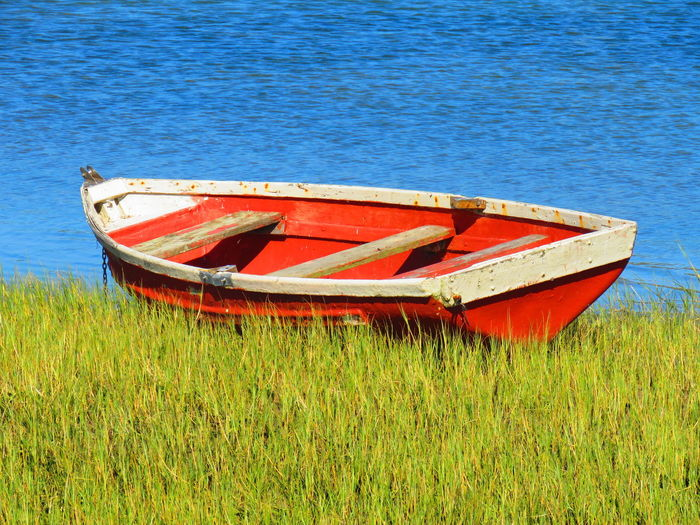 Abandoned boat moored on field by sea