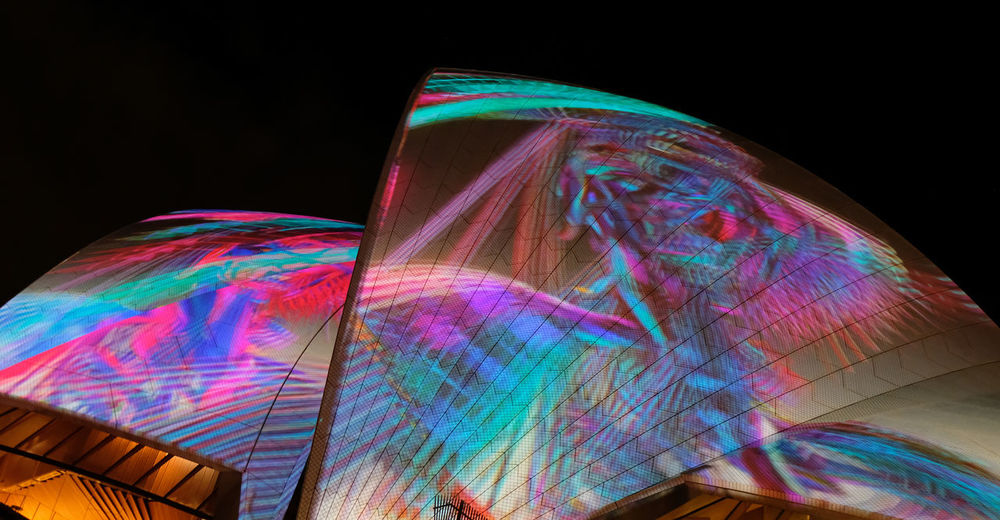 New South Wales  Sydney Vivid 2019 Festival Lighting Effects Light Show Multi Colored Black Background Pattern Night Illuminated Creativity Art And Craft No People Low Angle View Technology Abstract Opera House The Architect - 2019 EyeEm Awards