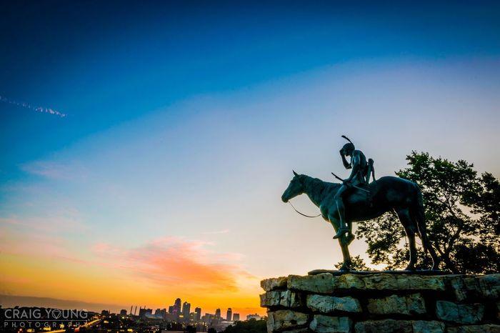 The overseer Horse Statue Sky Sculpture No People Architecture Sunrise Scenics Breathing Space Kansas City Kcmo Missouri Urban Skyline Cityscape City Life Cloud - Sky Architecture