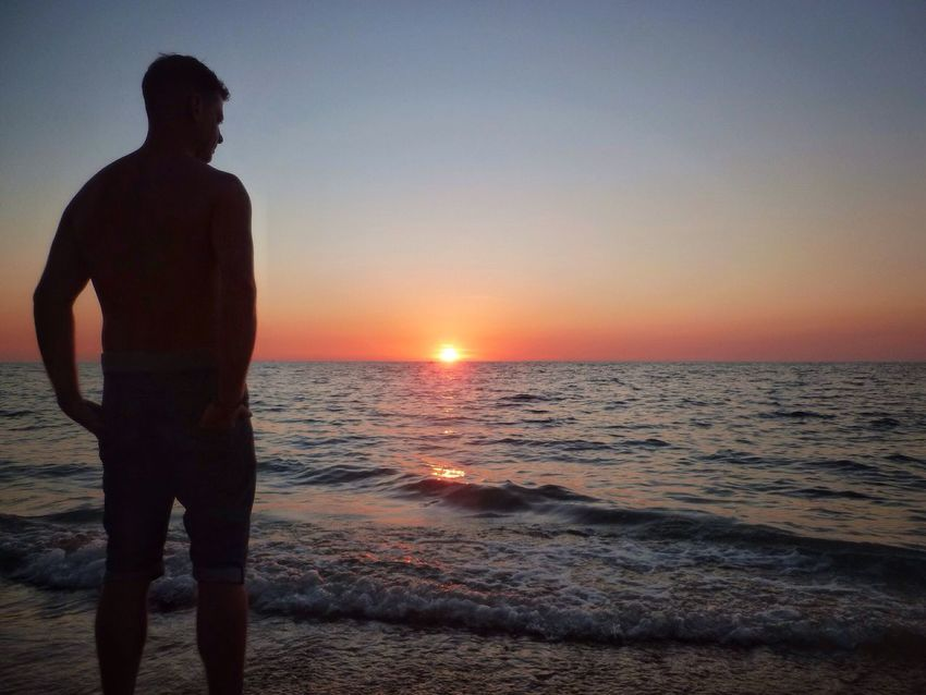Spotted In Thailand in Koh Lanta Thailand Silhouette Sunset Beautiful Sunset Beach Relaxing Orange Coloured Sky Relaxing View Thai Tropical Stunning View Landscape Landscape_Collection Showcase April Eye4photography  EyeEm Best Shots EyeEm Island Life Chilling Out Island Colourful Calm Scenic