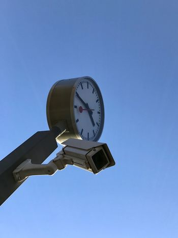 Clear Sky Low Angle View Blue Clock Human Hand Time Day Outdoors Sky Real People One Person Cctv Cctv Camera Observed