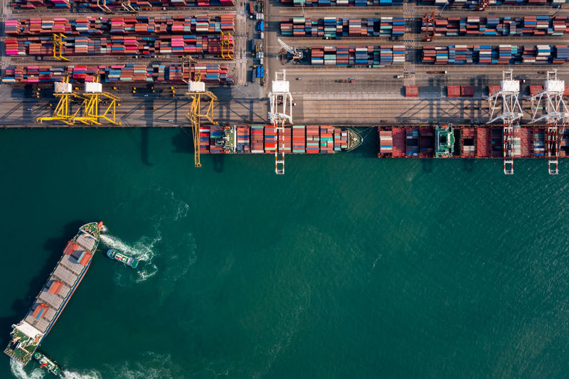 Top view shipping port for international import export cargo logistics  business services