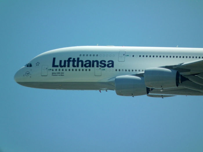 The airboss A 380 Badenairport Blue Clear Sky Day Lufthansa Mode Of Transport Outdoors Sky