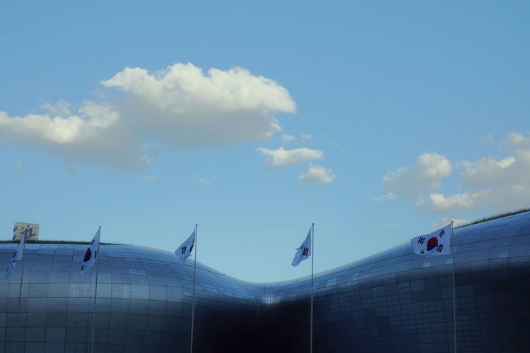 Architecture City Cityscape Clear Sky Korea Seoul Blue Cloud - Sky Day Dongdaemun Design Plaza Flags Sky