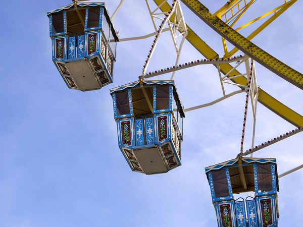 Amusement Park Amusement Park Ride Architecture Arts Culture And Entertainment Blue Built Structure Clear Sky Day Fairground Ferris Wheel Lighting Equipment Low Angle View Machinery Metal Nature No People Outdoors Sky Tall - High Time