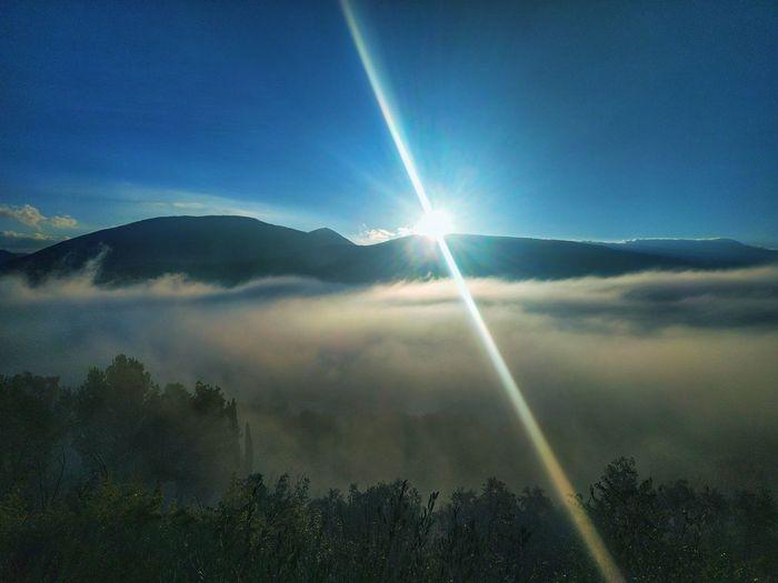 fog Foggy Morning Foggy Day Nebbia Del Mattino Nebbia Nuvole Basse Vapor Trail Tree Mountain Rainbow Sky